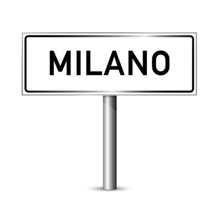 entrance sign: Milan Italy - city road sign - signage board