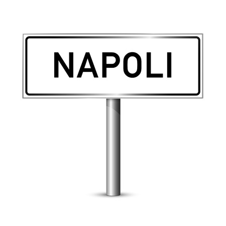 Naples Italy - city road sign - signage board Illustration