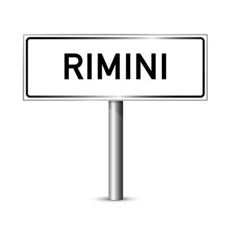 ortseingangsschild: Rimini Italien - Stadt road sign - Signage-Board
