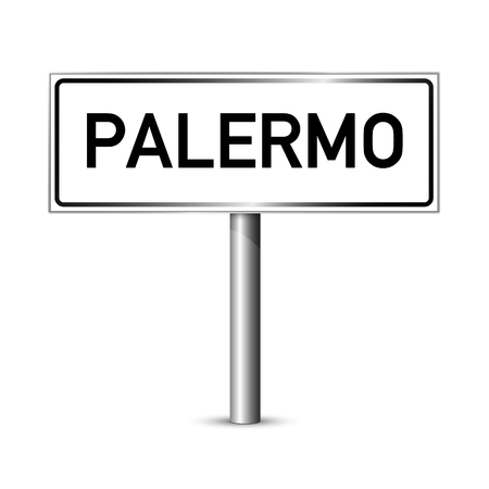 ortseingangsschild: Palermo Italien - Stadt road sign - Signage-Board