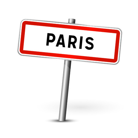 ortsschild: Paris France - city road sign - signage board Illustration
