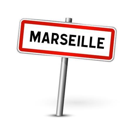 ortseingangsschild: Marseille Frankreich - Stadt road sign - Signage-Board Illustration