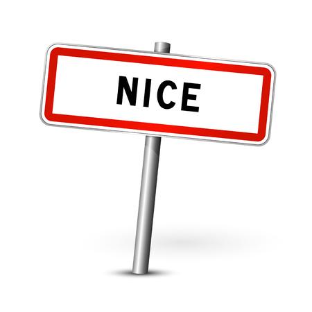 ortseingangsschild: Nizza Frankreich - Stadt road sign - Signage-Board