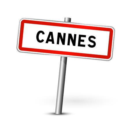 ortseingangsschild: Cannes France - city road sign - signage board Illustration