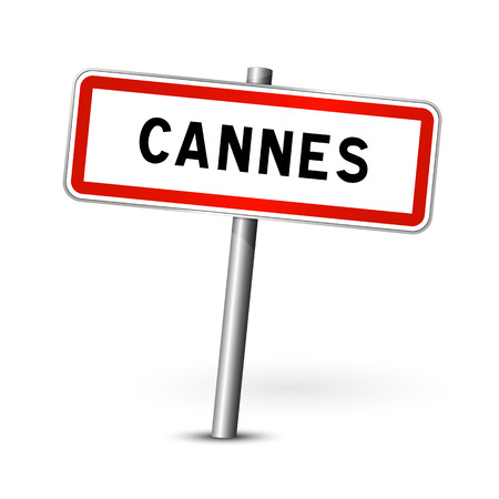 Cannes France - city road sign - signage board Illustration