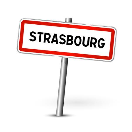 ortseingangsschild: Strasbourg Frankreich - Stadt road sign - Signage-Board