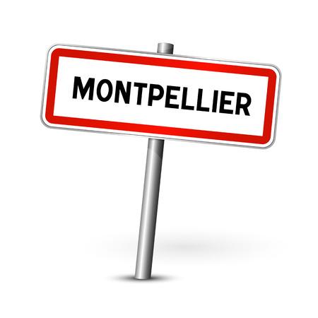 ortseingangsschild: Montpellier Frankreich - Stadt road sign - Signage-Board