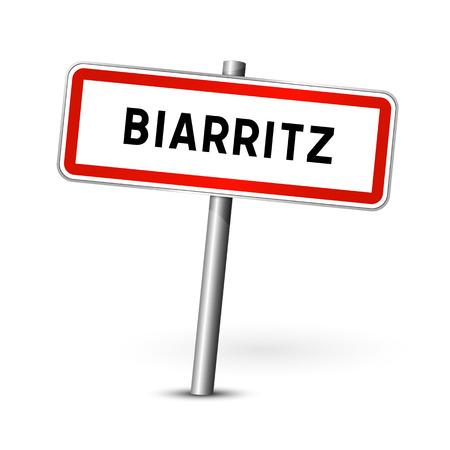 ortseingangsschild: Biarritz Frankreich - Stadt road sign - Signage-Board