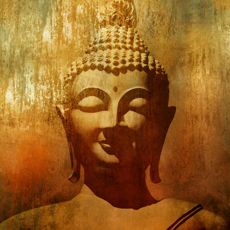 statues: Buddha head in grunge style