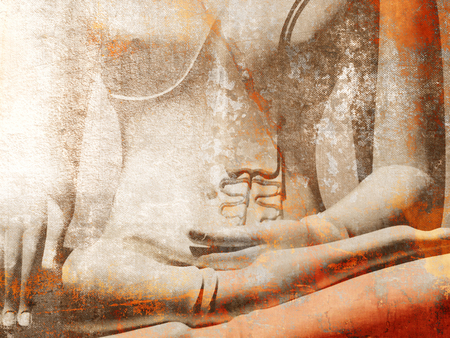 Buddha statue close up in light grunge style Фото со стока