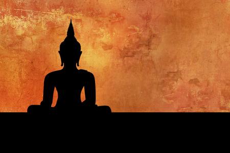 仏 - 瞑想シルエット - タイ背景 写真素材