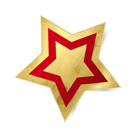 christmas element: Gold star icon with red frame - Christmas element isolated