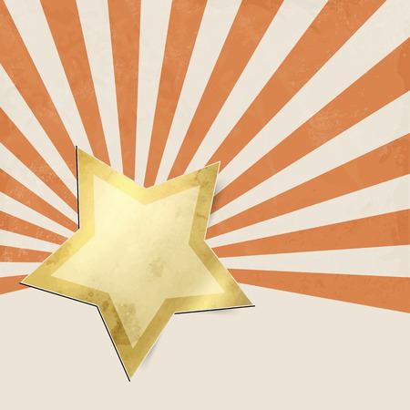 sunburst: Retro starburst orange with gold star