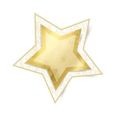 xmas star: Gold star isolated against white background - xmas sticker Illustration