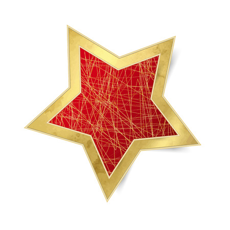 isolated on red: Red star with gold frame - Christmas ornament isolated Illustration