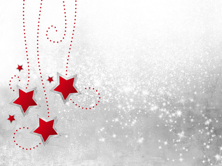 snow chain: Red stars against silver grey sparkle background - xmas decoration