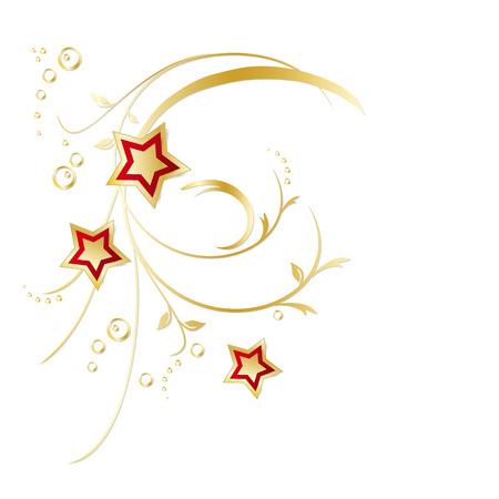 Floral decoration - gold branches with stars - elegant design element