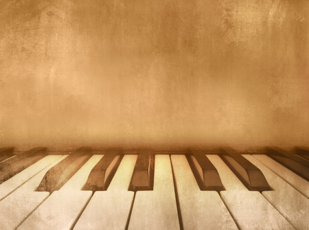 ivories: Music background vintage - piano keys Stock Photo