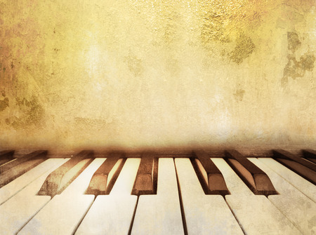 ivories: Vintage music background with piano keys Stock Photo