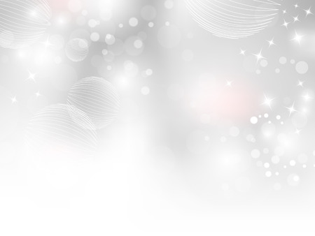 christmas wallpaper: White grey background gradient with sparkling bokeh lights Illustration