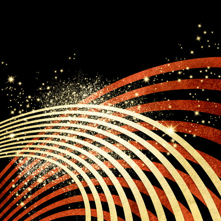 award background: Black background with red wavy lines and sparkling lights - dynamic music concept with abstract radio sound waves