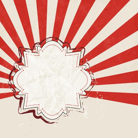 starburst: Red starburst retro - abstract event background with vintage label