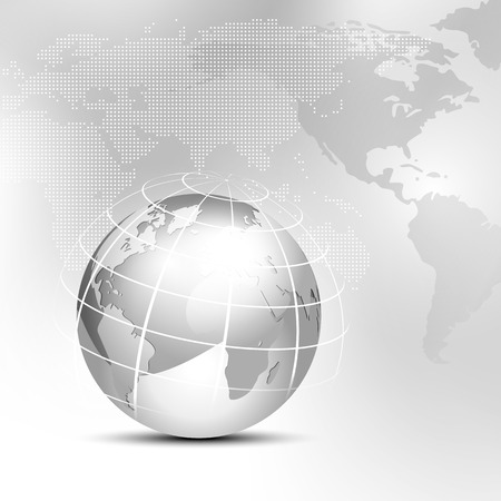 worldmap: World background with globe and map - global business concept