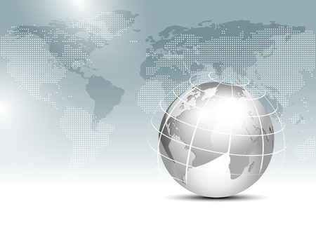 global finance: World map background with globe - global finance business template
