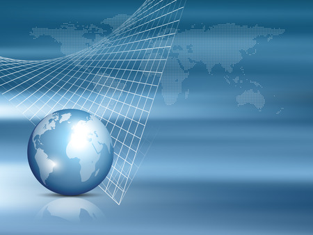 Global map with world globe and grid - finance and investment template - business background