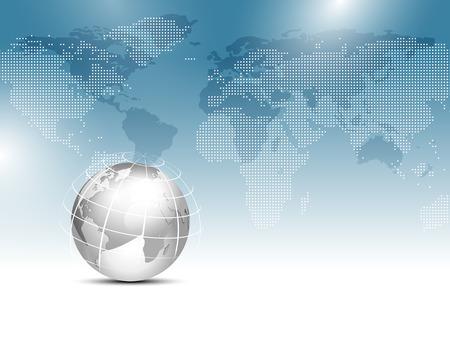 worldmap: Global world map background blue with silver gray globe - worldwide business template Illustration