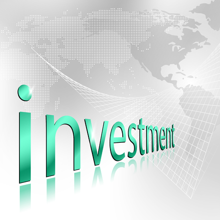 investment concept: Investment word - financial planning concept with world map background
