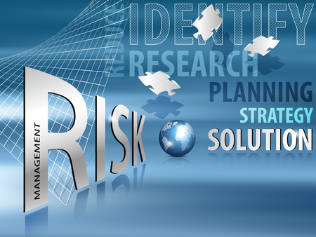 identify: Risk management text - business planning concept with words like Identify, Research, Planning, Strategy and Solution