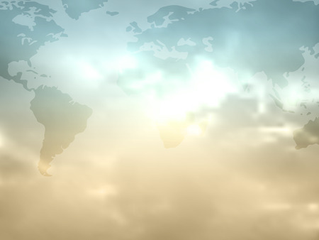 空と雲 - グローバル世界背景にレトロな色のフラット世界地図  イラスト・ベクター素材