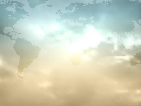 mapa del mundo plano en colores retro con el cielo y las nubes - fondo mundial mapamundi