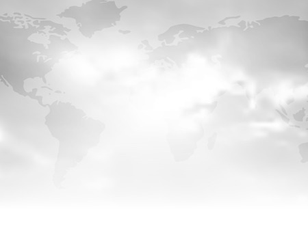 fading: Gray background with flat world map and abstract cloudy sky fading to white