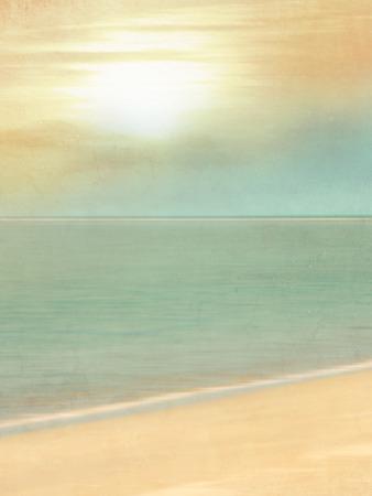Fondo de la playa de la vendimia con la arena y el sol y la suave línea del horizonte - turismo borrosa y el concepto de viaje en estilo retro