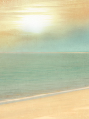 ocean background: Vintage beach background with sand and sun and soft horizon line - blurred tourism and travel concept in retro style
