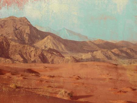 barren land: Desert landscape with mountain range and sand in retro style - barren land
