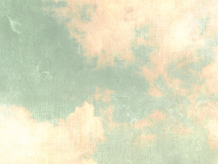 beige background: Vintage sky background green with clouds in pastel watercolors Stock Photo