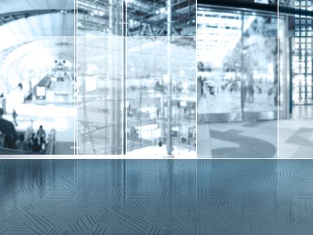plaza comercial: Resumen de antecedentes de negocios con la ciudad urbana global estilo de vida detrás de las ventanas de vidrio - borrosa personas, pasajeros, edificio y aeropuerto internacional sala