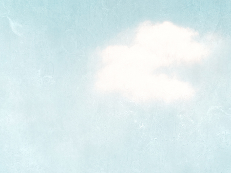 Light blue watercolor sky with single cloud - pastel vintage sky - soft pale retro design Reklamní fotografie