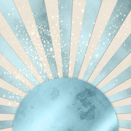 fifties: Blue starburst background vintage with shiny circle button banner Stock Photo