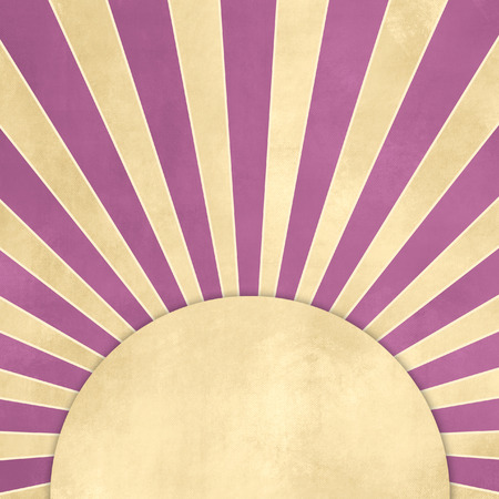 tan: Retro starburst with purple rays against beige background with tan banner Stock Photo