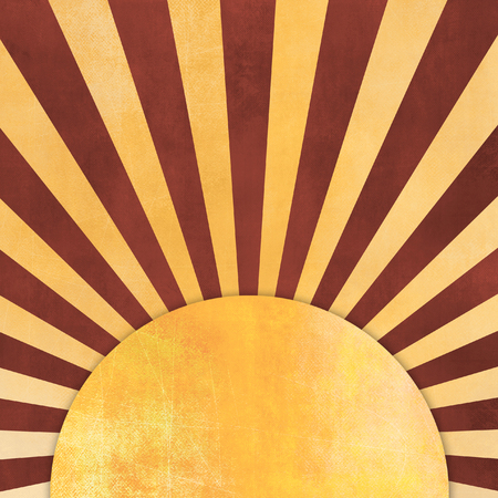 Sunburst retro with yellow and brown rays - abstract vintage starburst background with round label Stock Photo