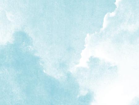 Blauwe hemel en wolken aquarel in zachte bleke vintage stijl