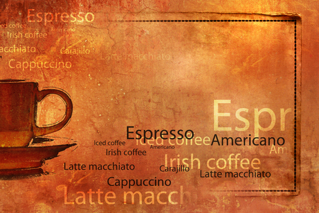 caffe: Coffee cup background grunge with words and paper frame
