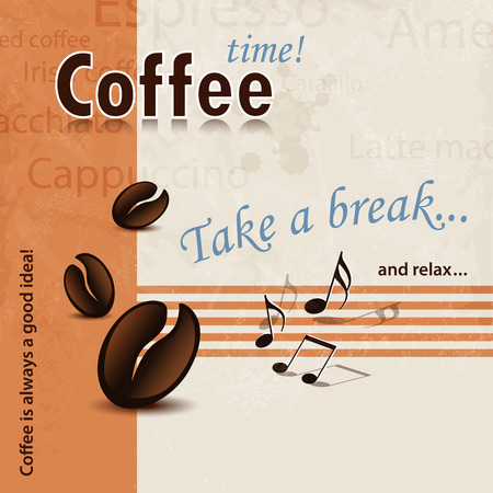 60s: Coffee Break poster 60s with words, coffee beans and music notes Illustration