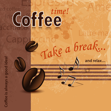 40s: Coffee time background retro with words - coffee shop, coffee bar and coffee menu template