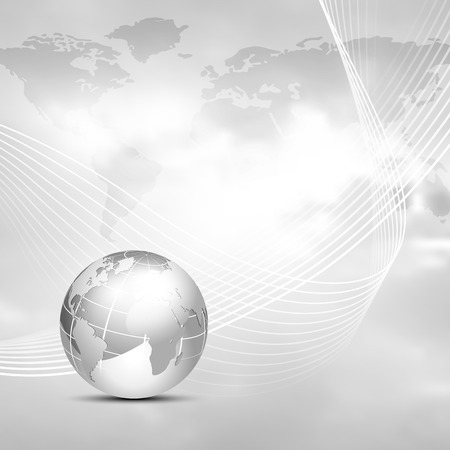 worldmap: Grey world map background with globe - global network, connection and communication business concept