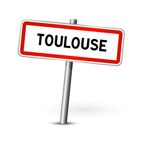 signage: Toulouse France - city road sign - signage board